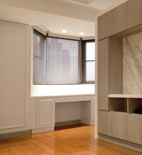 18032006a 480x524 - [案例] 凸窗、八角窗裝窗簾需注意的小細節 -珠鍊式鋁百葉簾.遮光捲簾