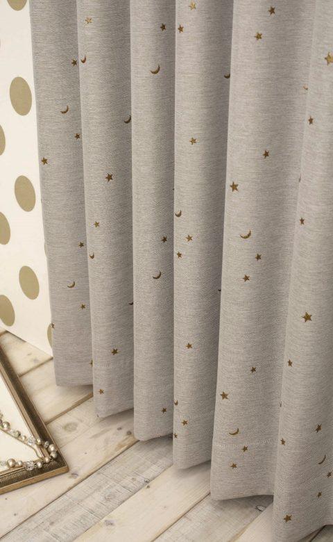 星星窗簾 亞麻色窗簾 Linen Stars Design Curtains