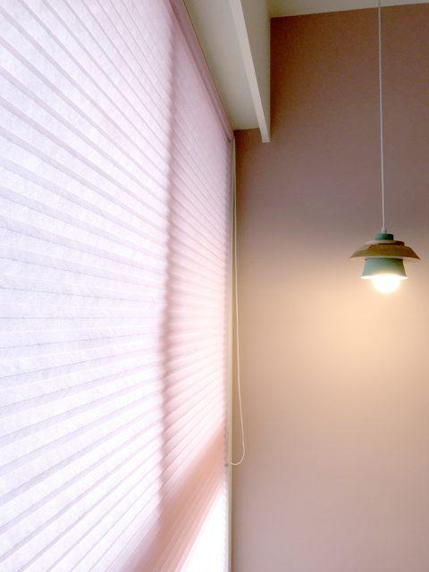 粉紅色 風巢簾 風琴簾 隔熱窗簾