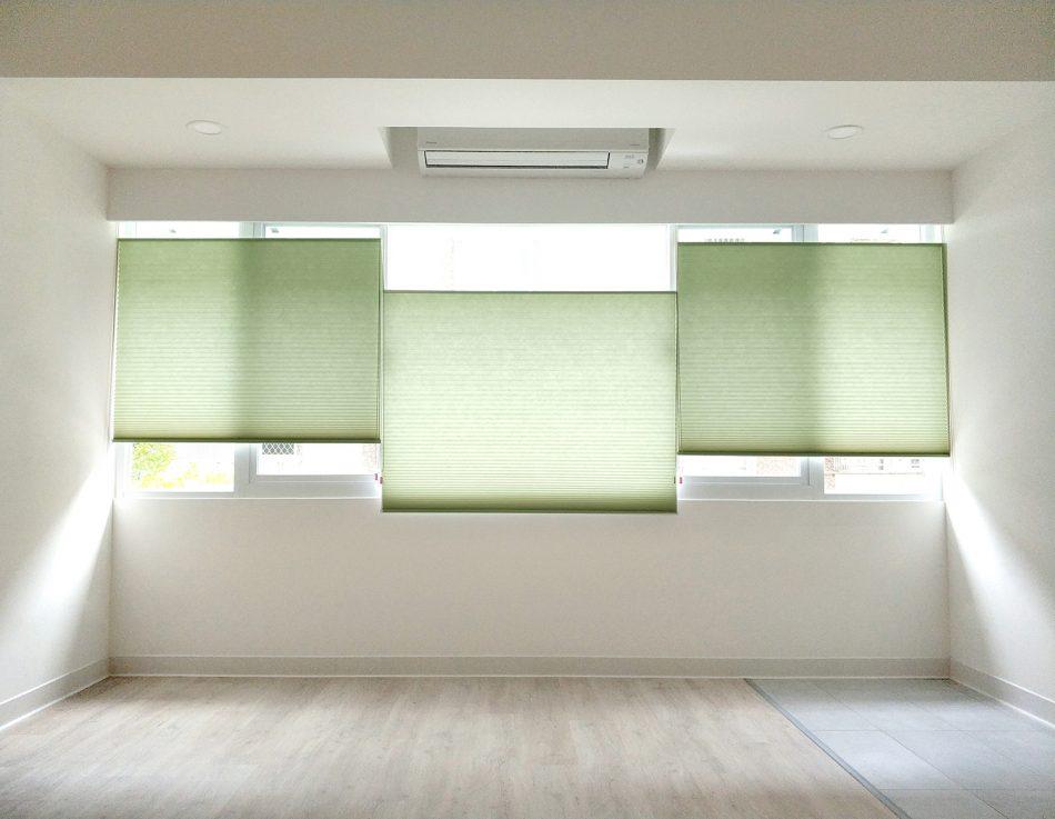 綠色 風巢簾 風琴簾 隔熱窗簾
