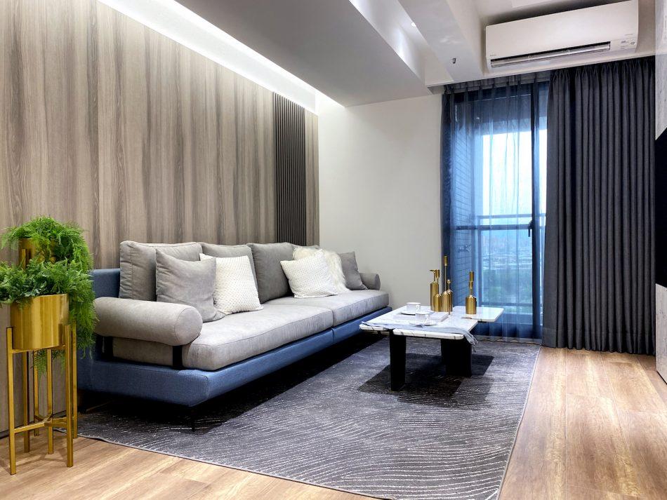 布紗簾 灰色設計 客廳窗簾 客廳設計 三摺簾