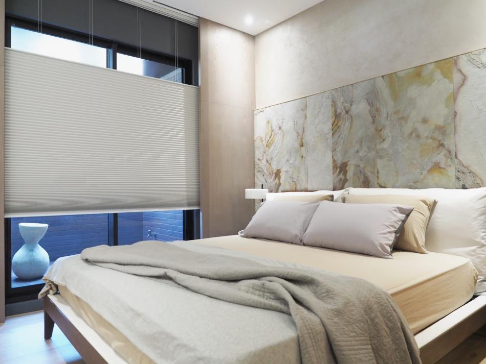 遮光窗簾 隔熱窗簾 風琴簾 上下開蜂巢簾 極簡白 簡約風 臥室窗簾