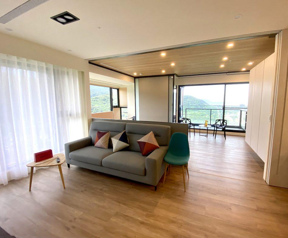 開放式設計 紗簾 落地窗 度假宅 簡約風 現代風 客廳窗簾 宜蘭民宿