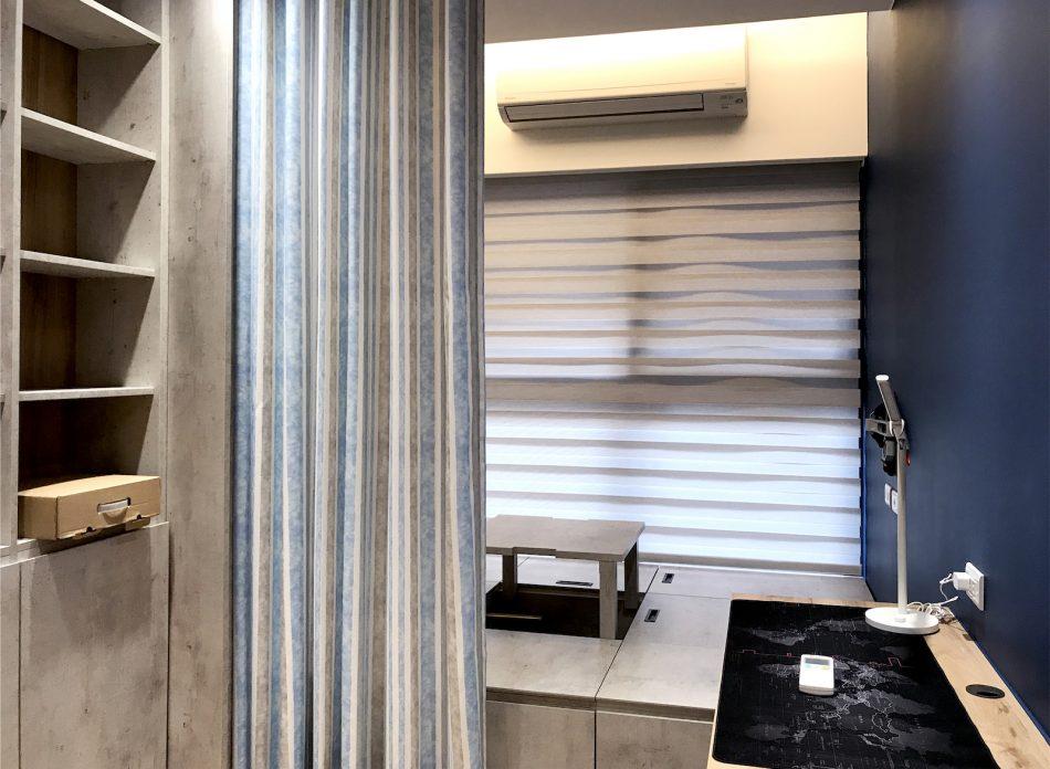 隔間簾 蛇形簾 藍色窗簾 工作室窗簾 調光捲簾 咖啡廳設計