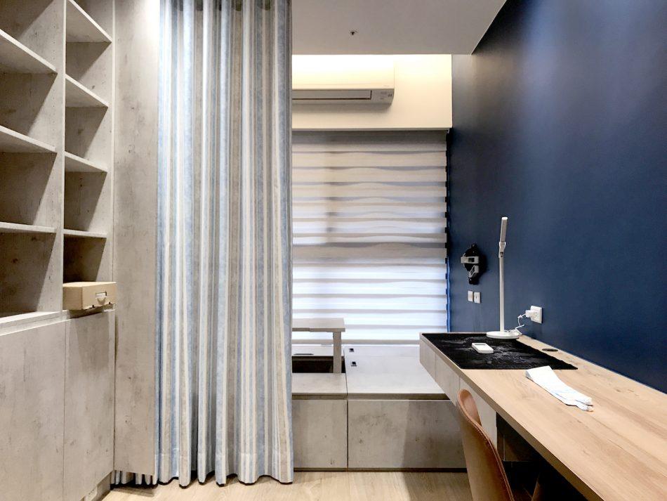 隔間簾 蛇形簾 藍色窗簾 工作室窗簾 調光捲簾